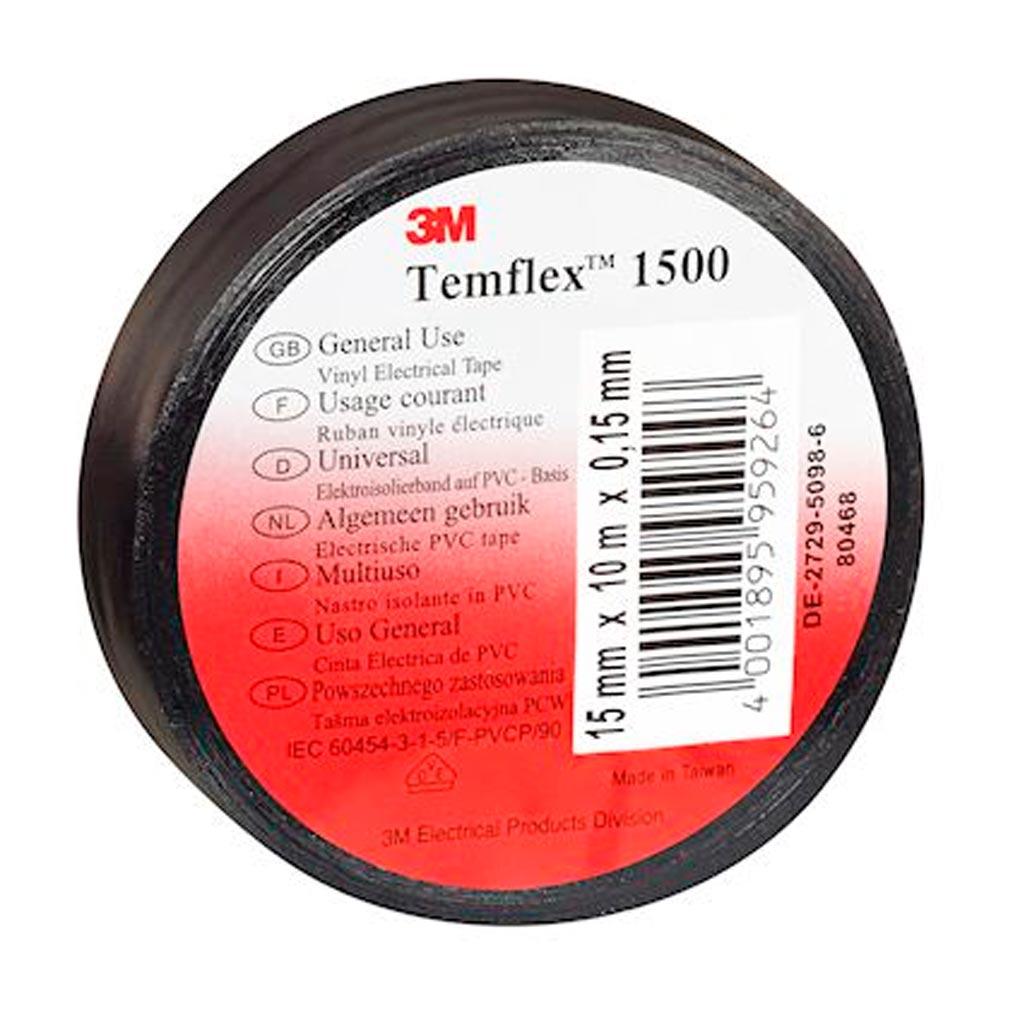3m france - TRM80456 - 3M 80456 - 3M Temflex 1500 Ruban d'isolation électrique 10m x 15mm Noir