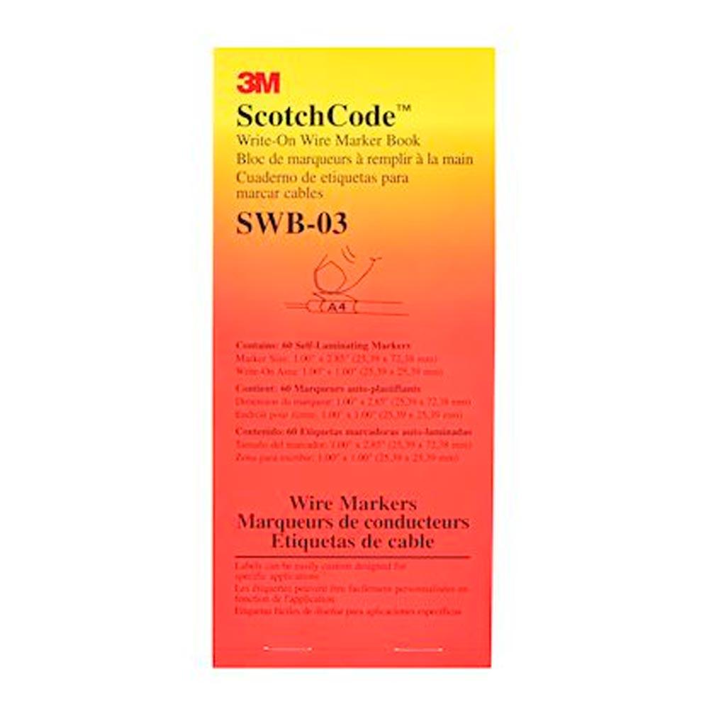 3m france - TRM80781 - 3M 80781 - Scotchcode SWB-3 Carnet 60 étiquettes 25,4x25,4mm marquage pour câbles 8 à 15mm