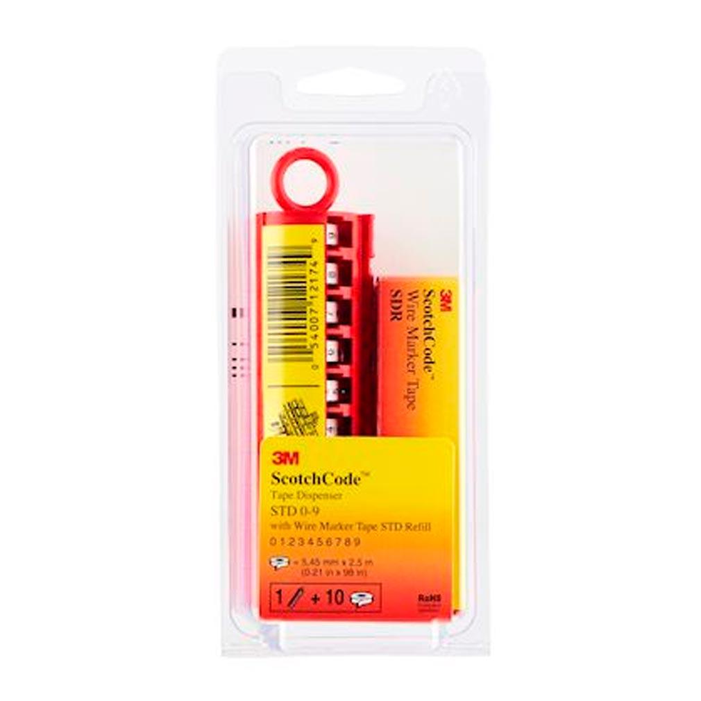 3m france - TRM89576 - 3M 89576 - Scotchcode Dévidoir STD chiffres 0-9 pour repérage fils + Recharge 10 rlx