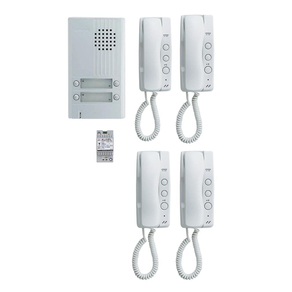 Aiphone - AIP110550 - KITDA4 Kit audio platine alu saillie 4 BP, 4 combinés et 1 transfo