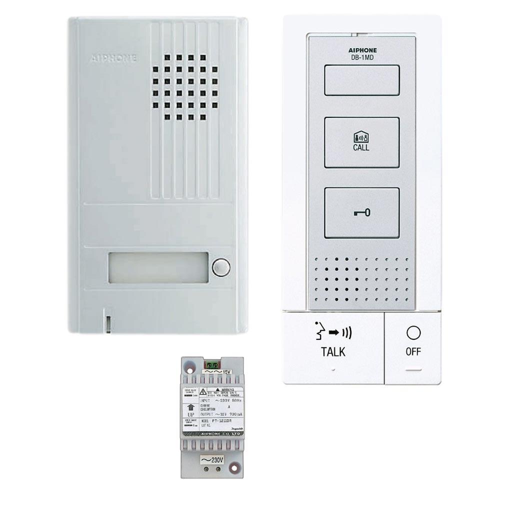 Aiphone - AIP118712 - DBS1AP Kit portier audio 2 fils intégral, mains libres, extensible à 4 postes supplémentaires