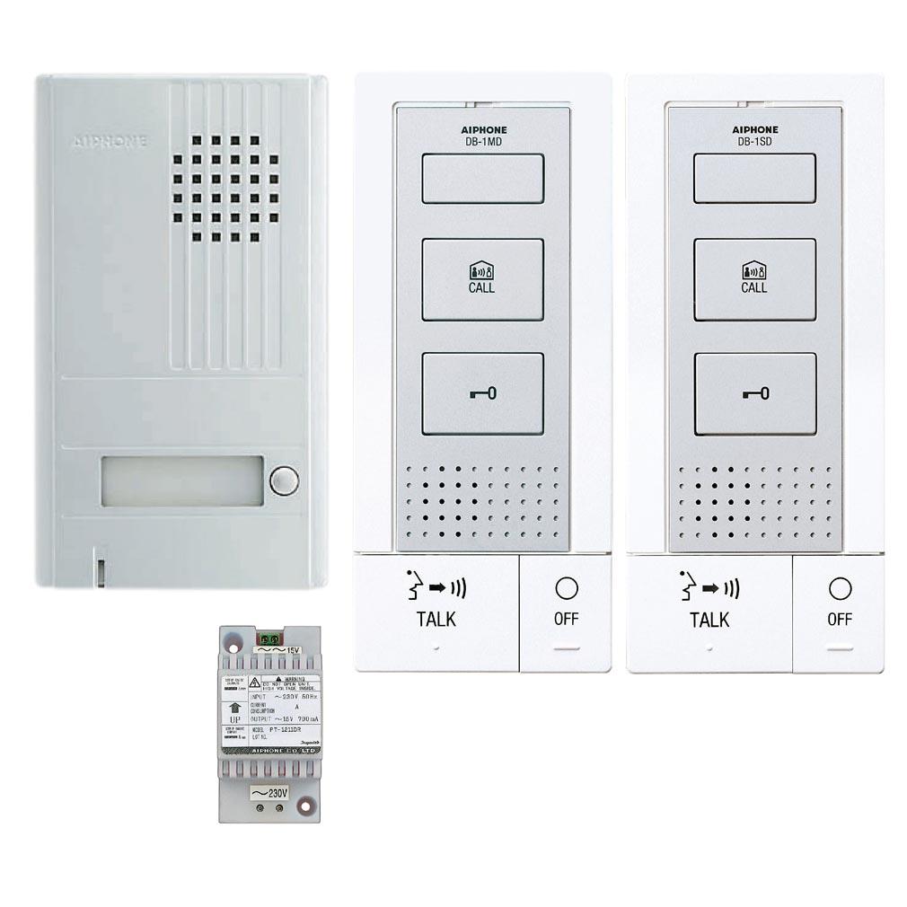 Aiphone - AIP118724 - DB2INT Kit portier audio 2 fils intégral, mains libres, 2 postes intérieurs, extensible à 2 postes supplémentaires