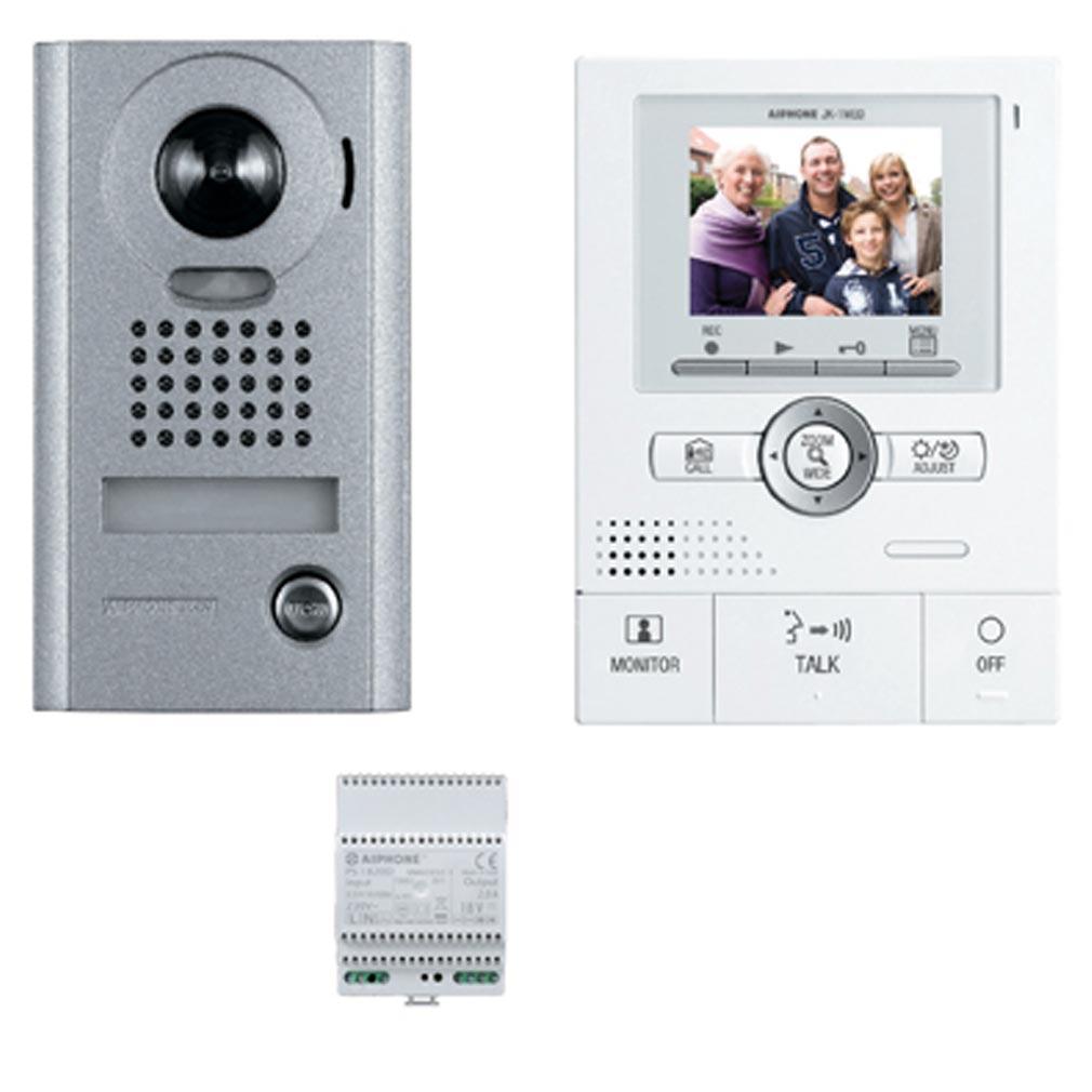 Aiphone - AIP130204 - JKS1AEDV Kit vidéo couleur, mémoire d'images, mains libres, grand angle avec zoom, platine saillie