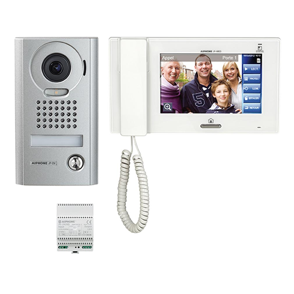 Aiphone - AIP130318 - JPS4AEDV Kit vidéo saillie comprenant :1 platine JPDV, 1 moniteur JP4MED & 1 alimentation PS2420D