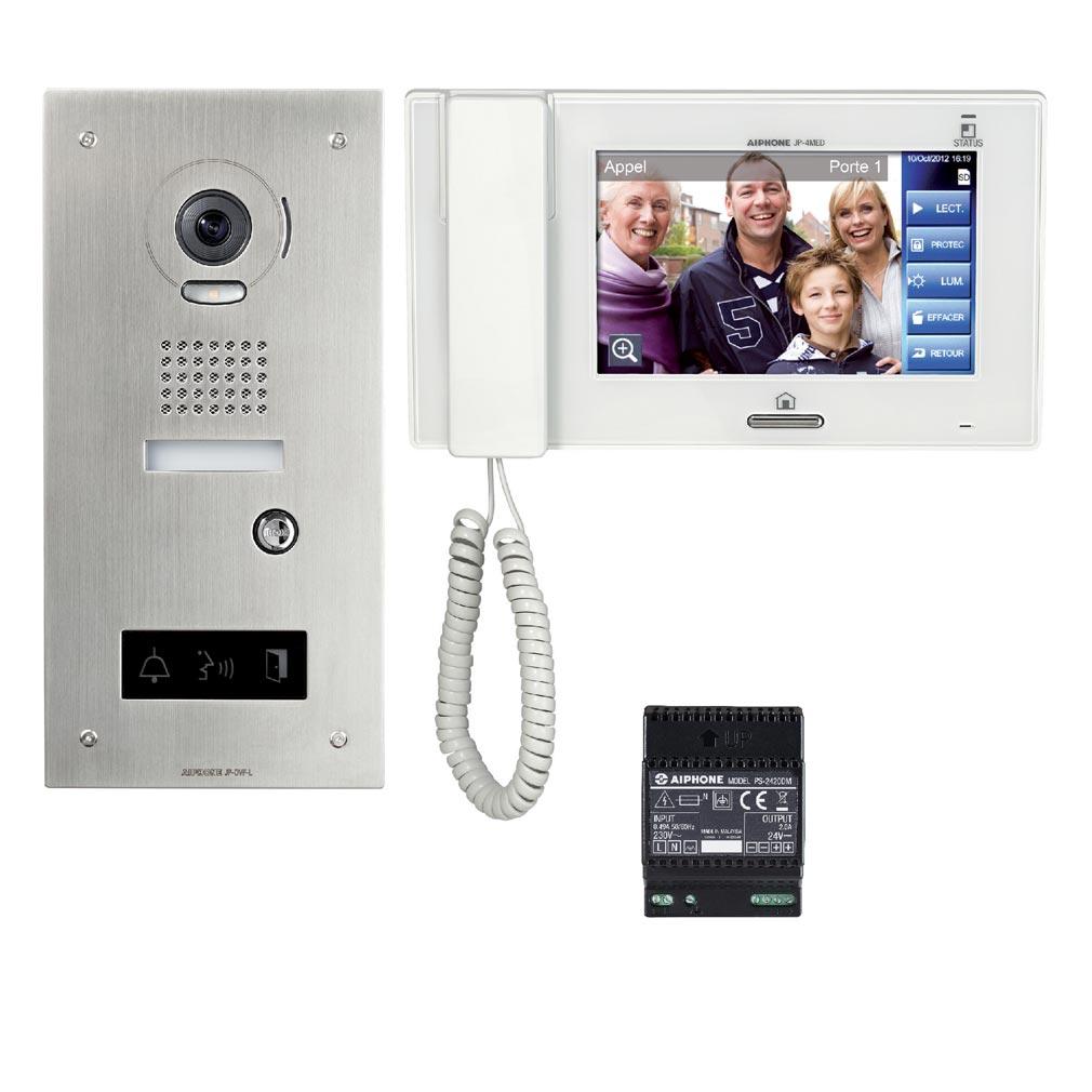 """Aiphone - AIP130324 - JPS4AEDFLKIT Kit vidéo accessibilité avec platine inox encastrée JPDVFL, moniteur JP4MED écran 7"""" tactile"""