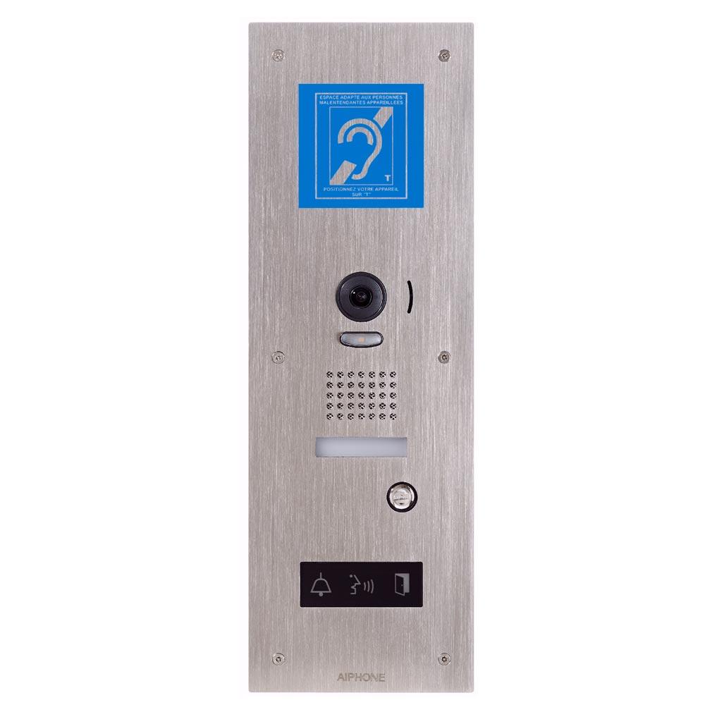 Aiphone - AIP130338 - JPDVFLBM Platine vidéo inox encastrée avec synthèse vocale, pictos lumineux & boucle magnétique pour JP4MED