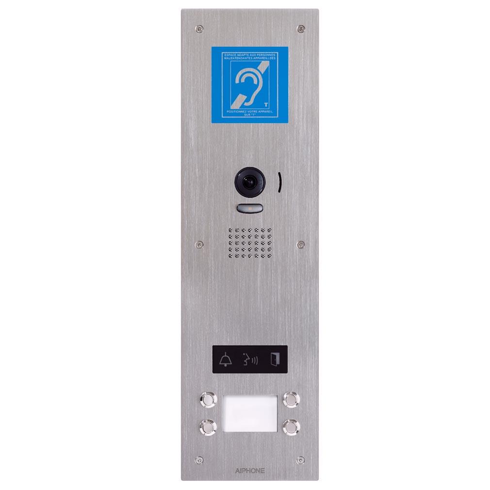 Aiphone - AIP130340 - JPDVF4LBM Platine vidéo inox encastrée 4 BP avec synthèse vocale, pictos lumineux & boucle magnétique pour JP