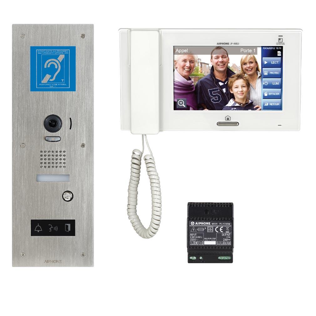 """Aiphone - AIP130341 - JPS4AEDFLBMKIT Kit vidéo accessibilité avec platine inox encastrée JPDVFLBM avec BOUCLE MAGNETIQUE, moniteur JP4MED écran 7"""" tactile"""