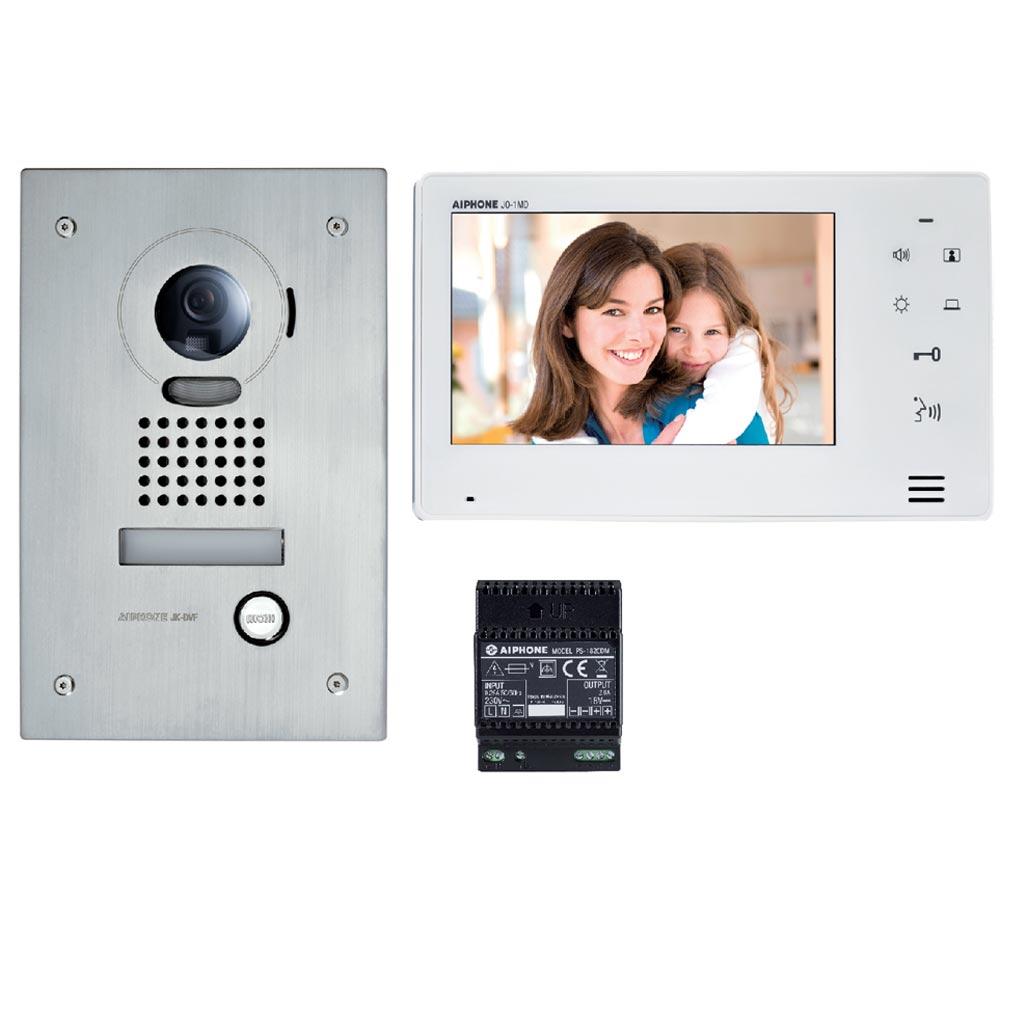 """Aiphone - AIP130401 - JOS1F Kit vidéo platine encastrée avec moniteur écran 7"""" - touche sensitive"""