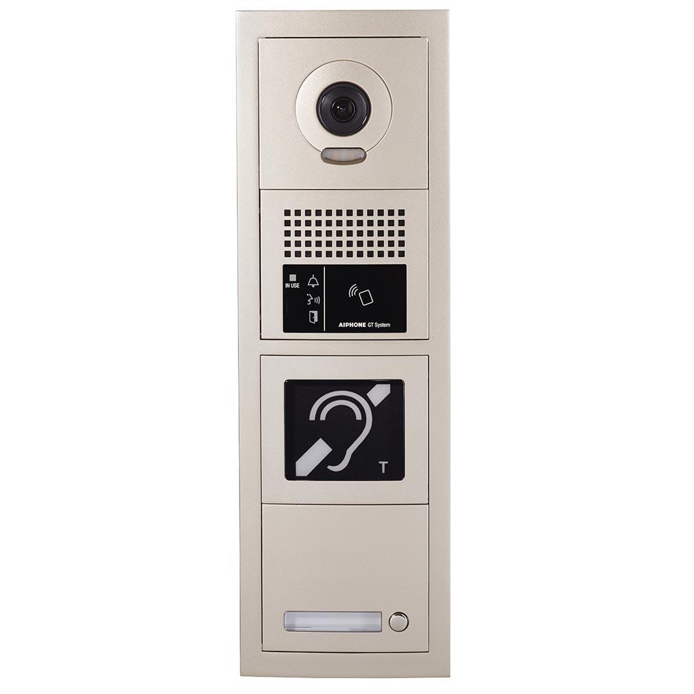 Aiphone AIP200276 - Platine de rue 1 bouton GT vidéo, modulaire, accessibilité, boucle magnétique - GTBVH1P
