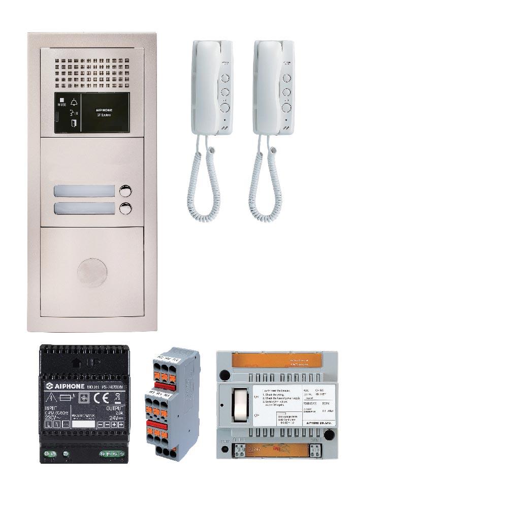 Aiphone - AIP200373 - GTBA2E Pack audio 2BP avec 2 postes GT1D préprogrammés