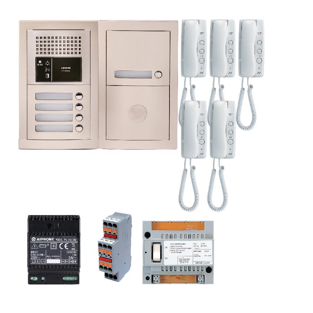 Aiphone - AIP200376 - GTBA5E Pack audio 5 BP avec 5 postes GT1D préprogrammés