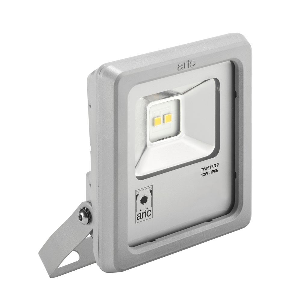 Aric ARI50460 - ARIC 50460 - Projecteur Extérieur LED IP65 IK08, gris, symétrique, faisceau 110DEG, LED CREE MHB intégrée 12W 3000K, flux sortant 1150 lumens
