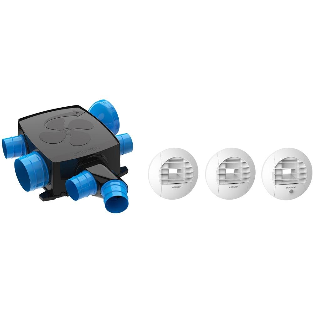 Atl clim ELG412296 - ATLANTIC Kit Piles Hygrocosy Bc Flex Vmc Hygro Basse Conso Plat 6 Sanitaires (3 Bouches)
