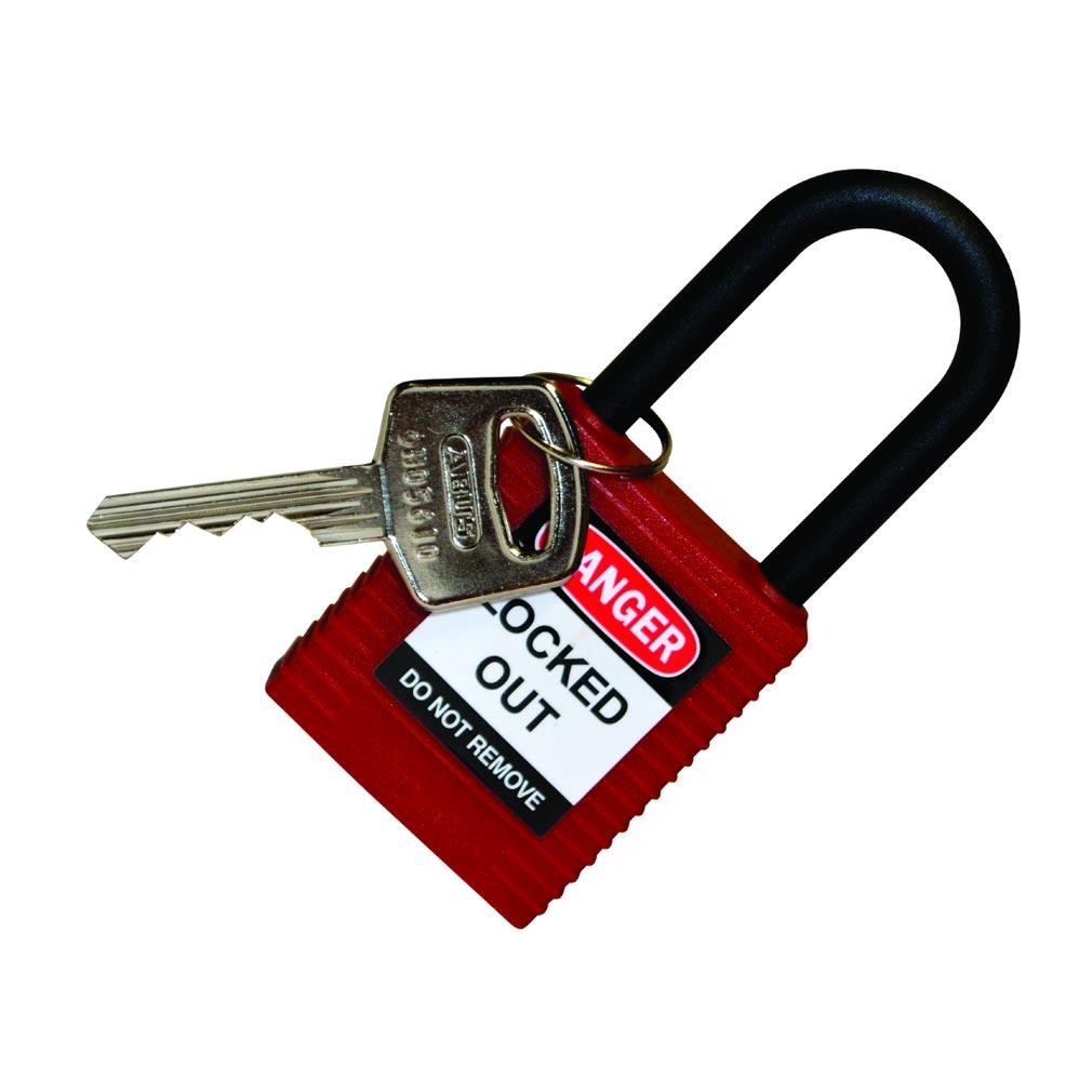 Bizline - BIZ230115 -  Cadenas consignation avec anse en nylon 38 mm rouge