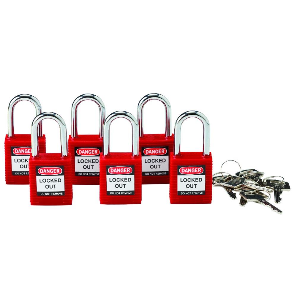 Bizline - BIZ230116 -  Lot de 6 cadenas de consignation avec anse aluminium 38 mm rouge