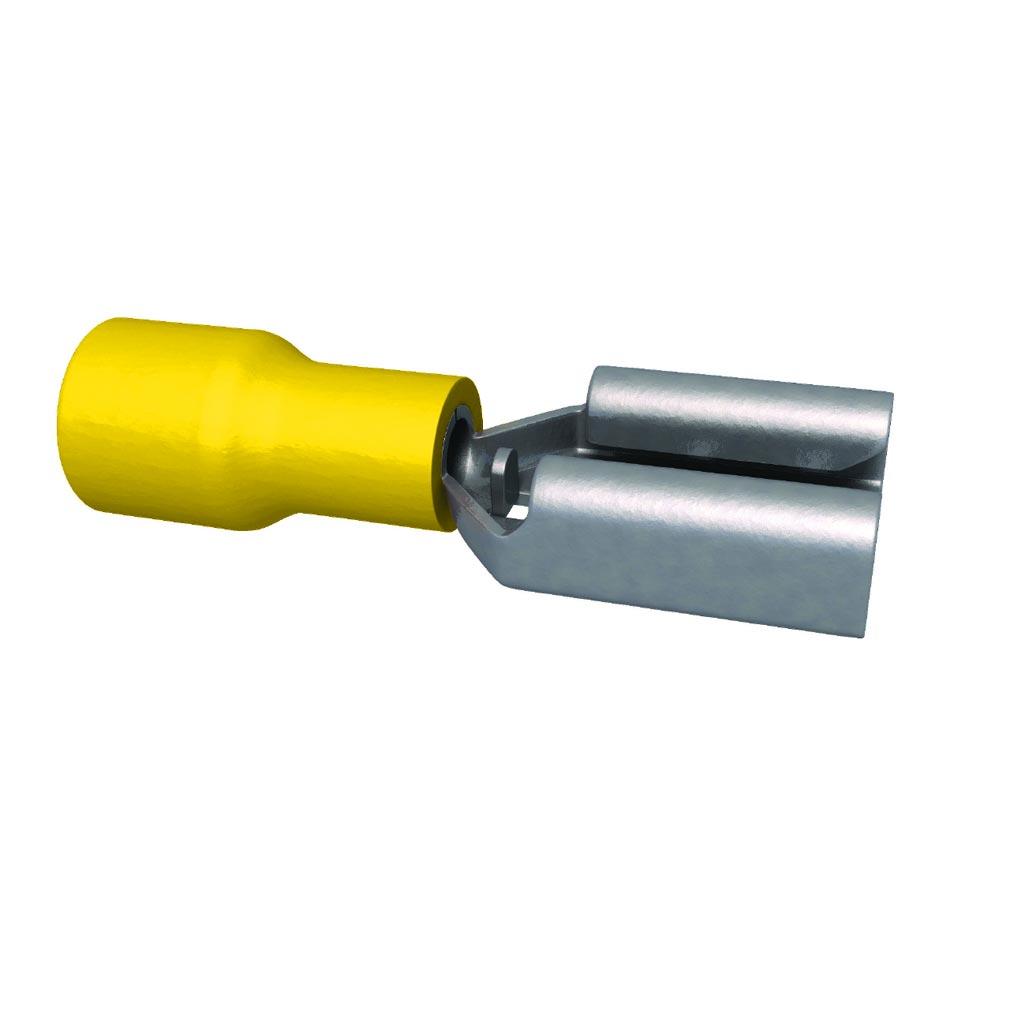 Bizline - BIZ235020 -  Clip pré-isolé femelle jaune 4-6 mm² 6.3 x 0.8 mm (x 50)