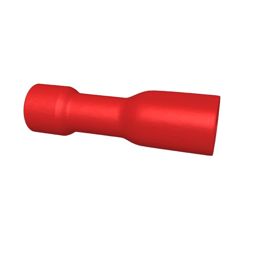 Bizline - BIZ235051 -  Clip femelle totalement isolé pour clip mâle 2.8 x 0.5 mm rouge (X 100)