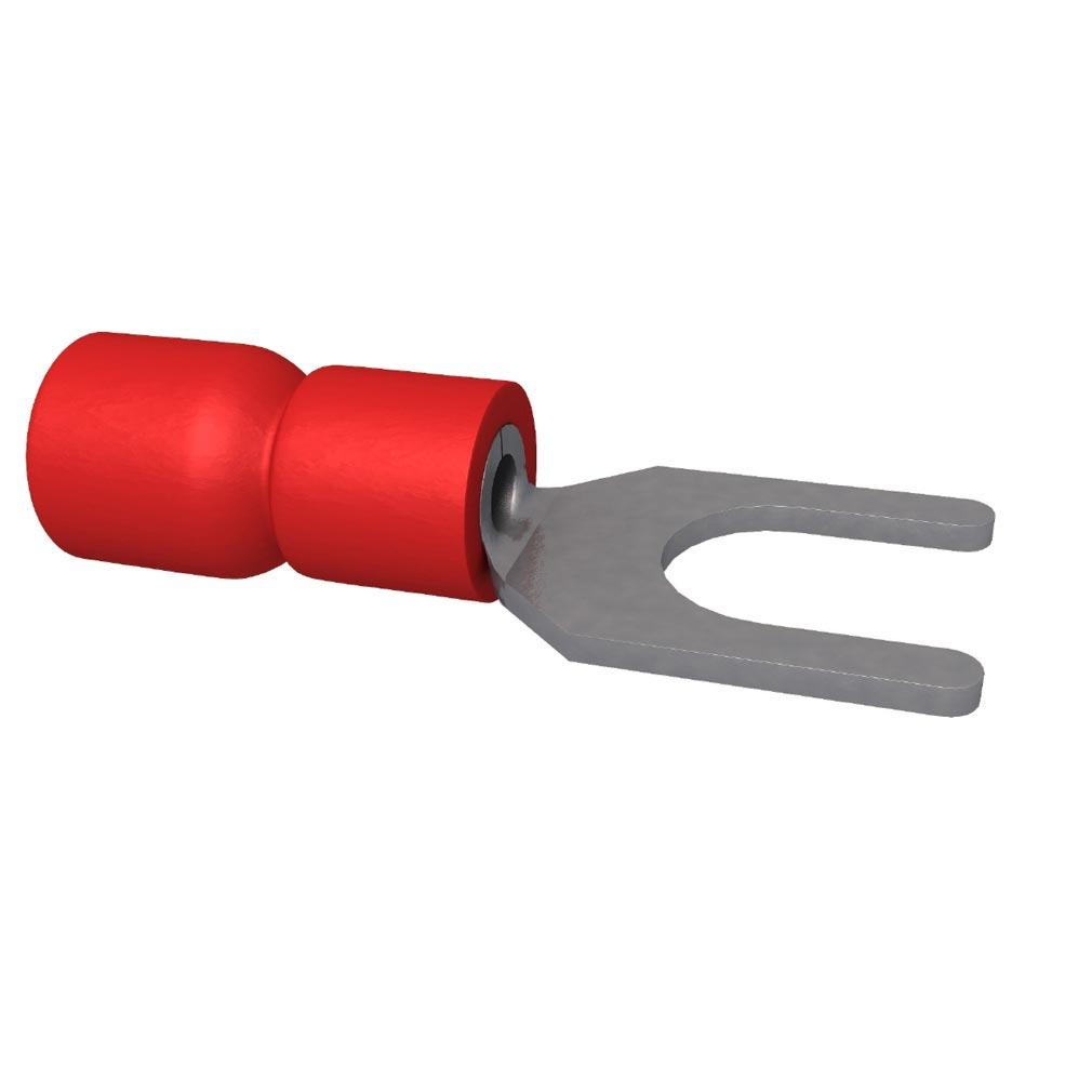 Bizline - BIZ251001 -  Cosse pré-isolée fourche M4 rouge (X 100)