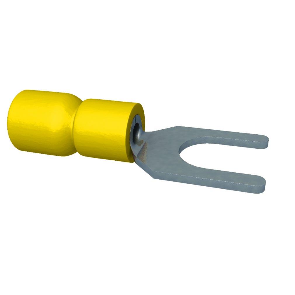 Bizline - BIZ253000 - Cosse pré-isolée fourche jaune 4-6 mm² M4 (x 100)