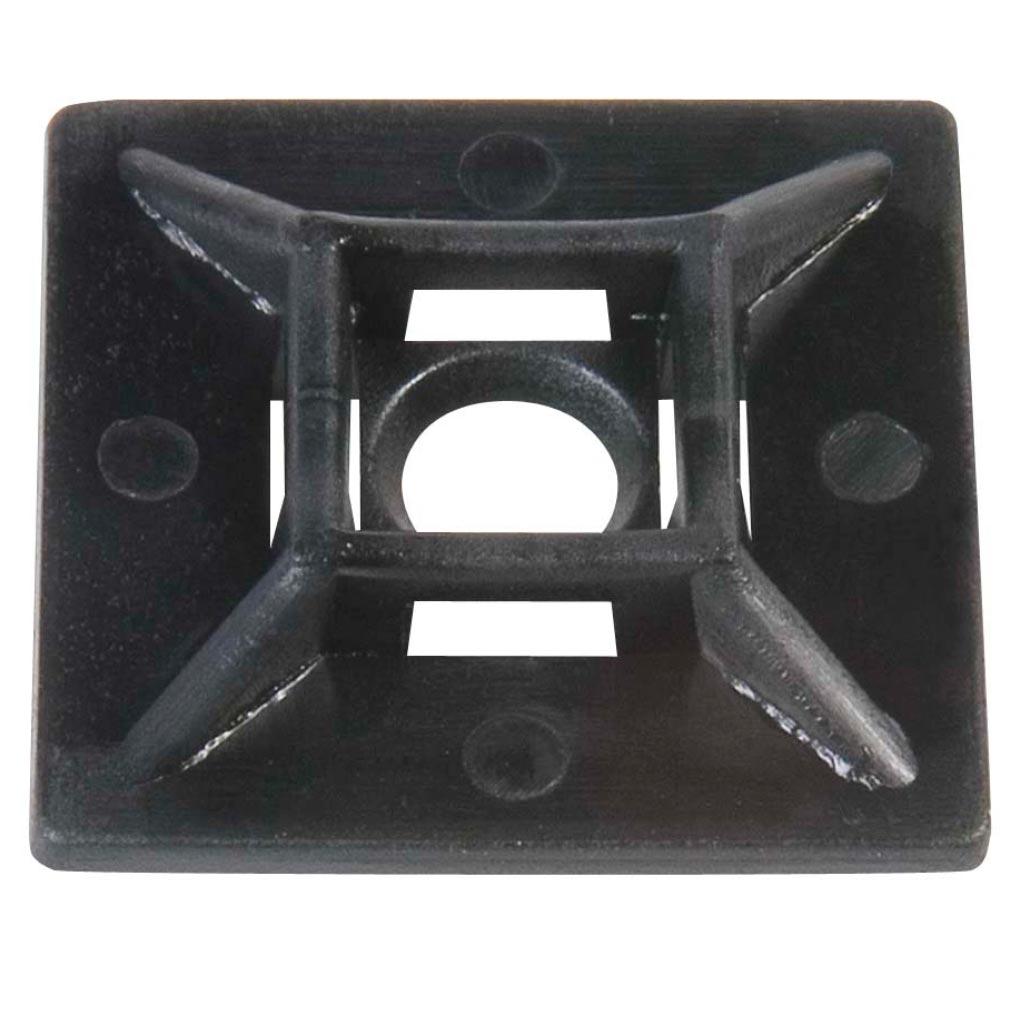 Bizline - BIZ300022 - Embase adhésive et à visser 19 x 19 x 5.3 mm noire (x 100)