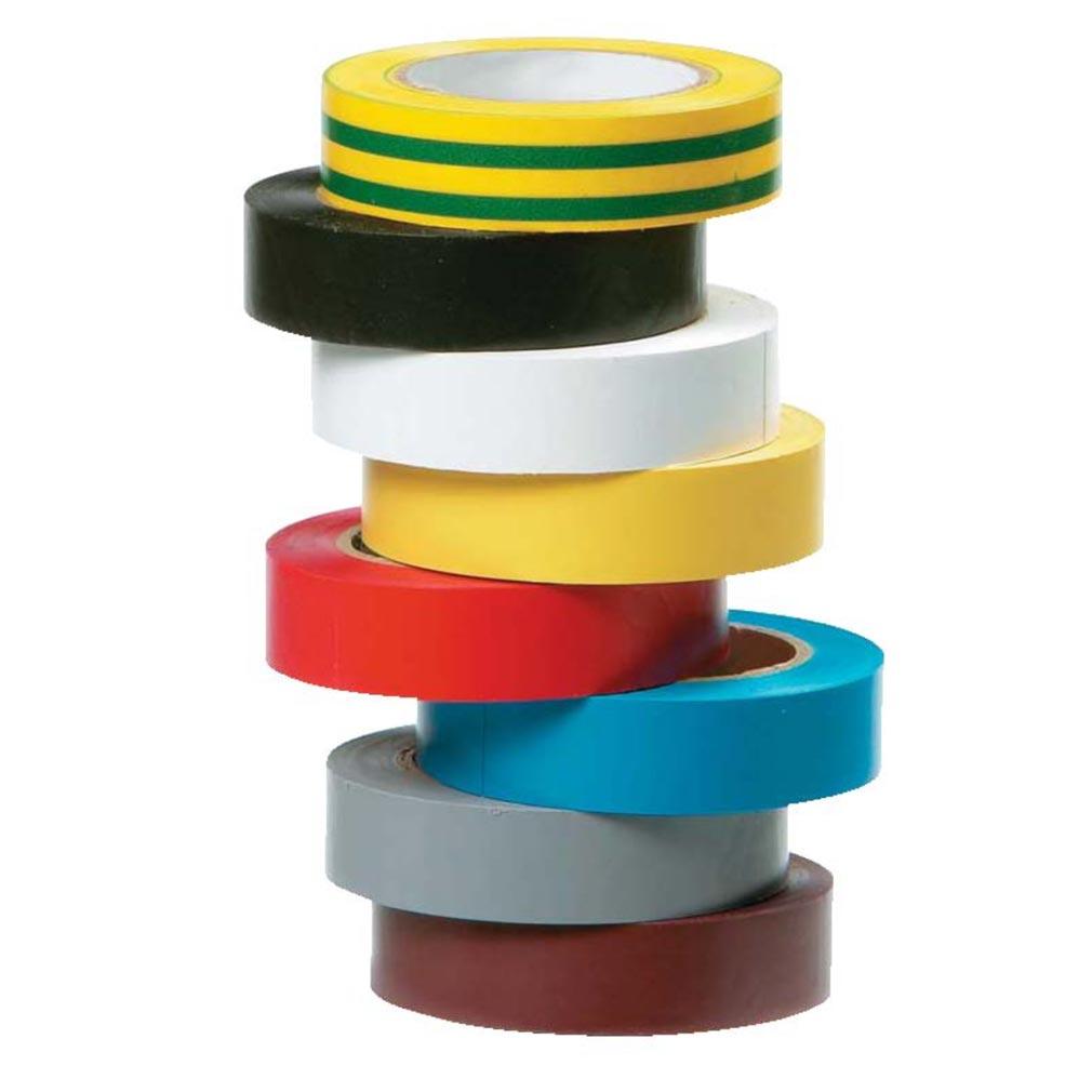 Bizline - BIZ350010 - Ruban d'isolation et de repérage électrique 15 mm x 10 m x 0.15 mm jaune/vert, jaune, blanc, noir, bleu, rouge, gris, brun (x 8)