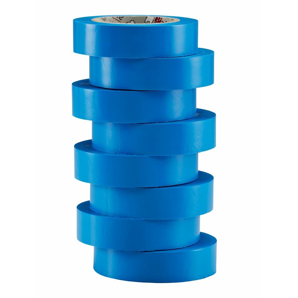 Bizline - BIZ350014 - Ruban d'isolation et de repérage électrique 15 mm x 10 m x 0.15 mm bleu (x 8)