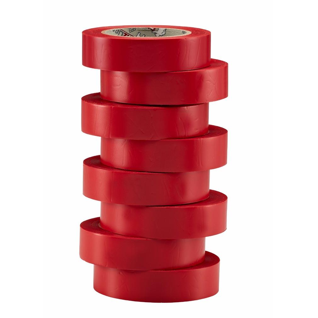 Bizline - BIZ350015 - Ruban d'isolation et de repérage électrique 15 mm x 10 m x 0.15 mm rouge (x 8)