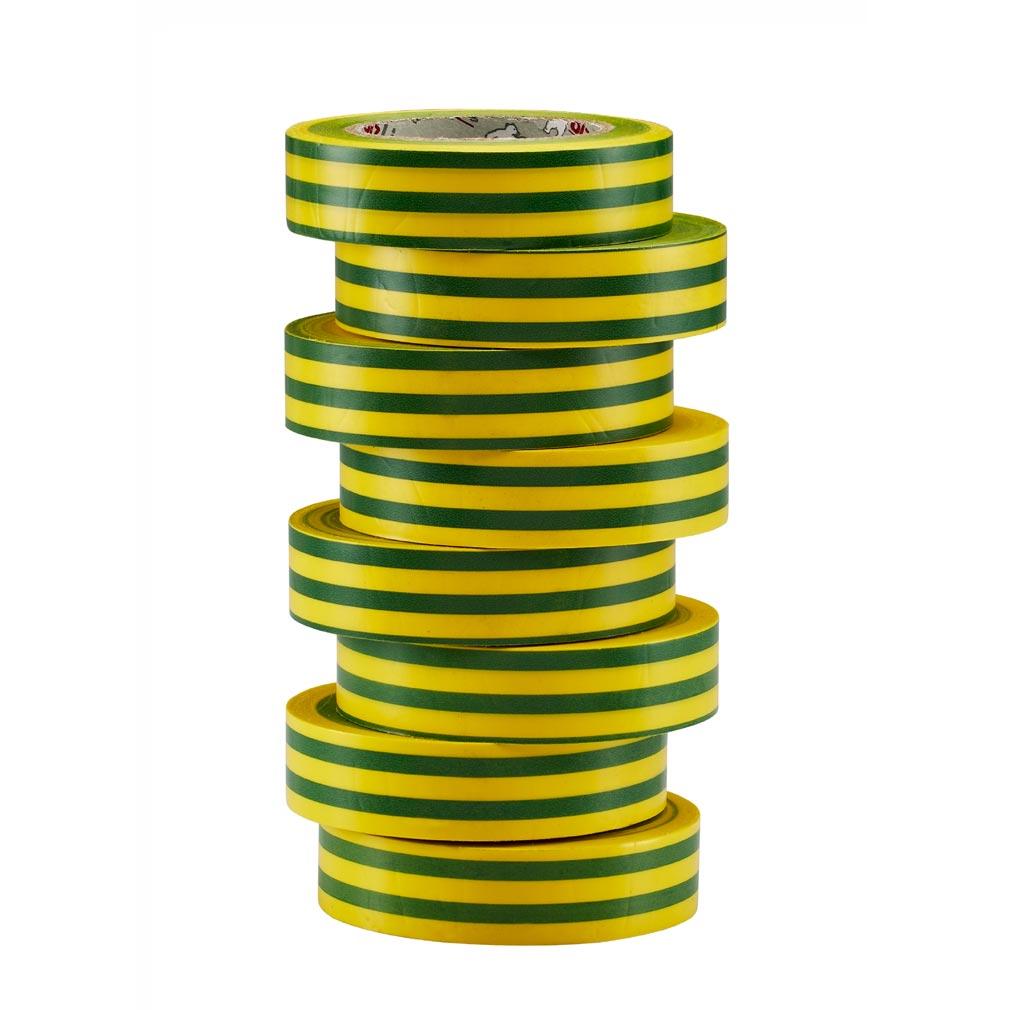 Bizline - BIZ350017 - Ruban d'isolation et de repérage électrique 15 mm x 10 m x 0.15 mm jaune/vert (x 8)