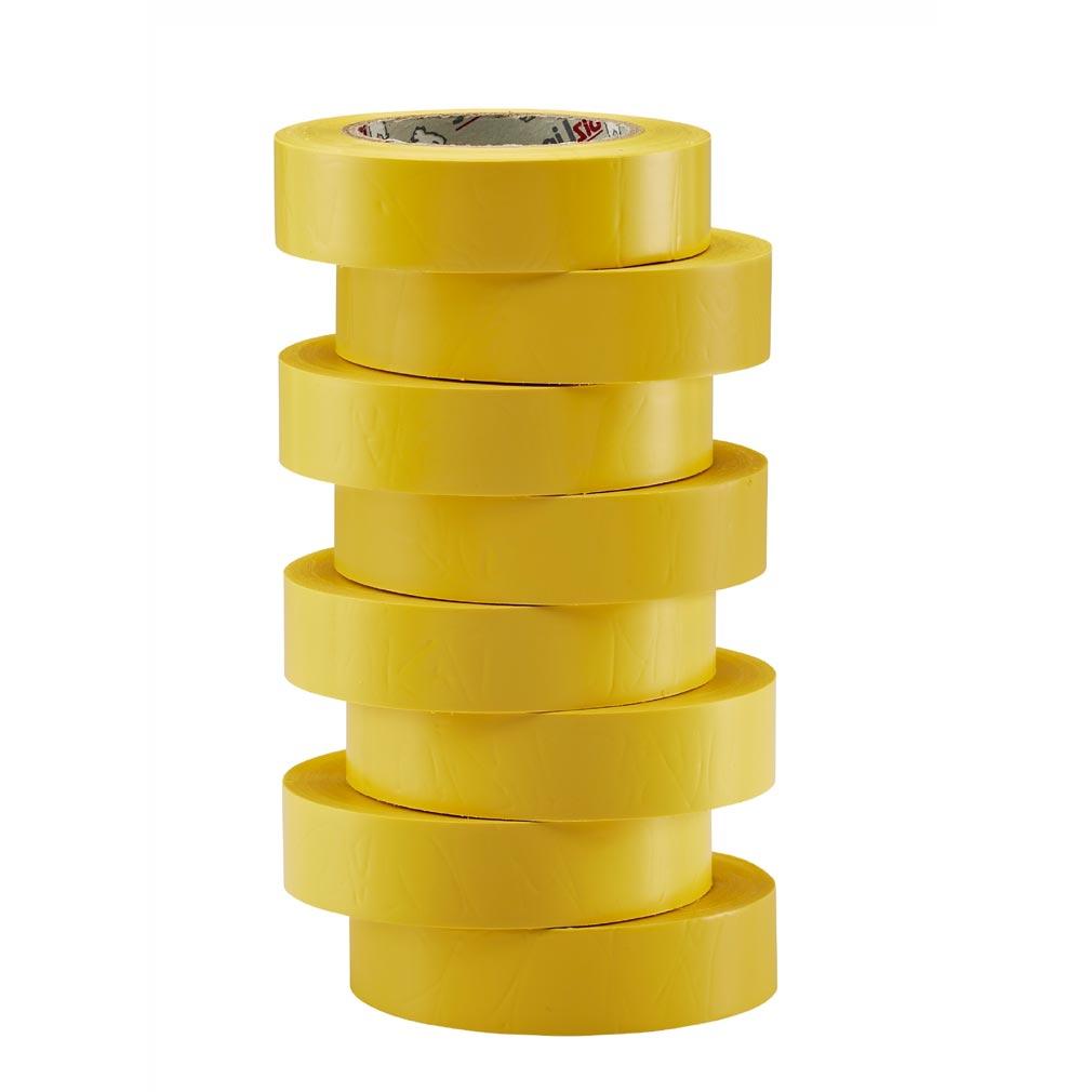 Bizline - BIZ350019 - Ruban d'isolation et de repérage électrique 19 mm x 20 m x 0.15 mm jaune (x 8)