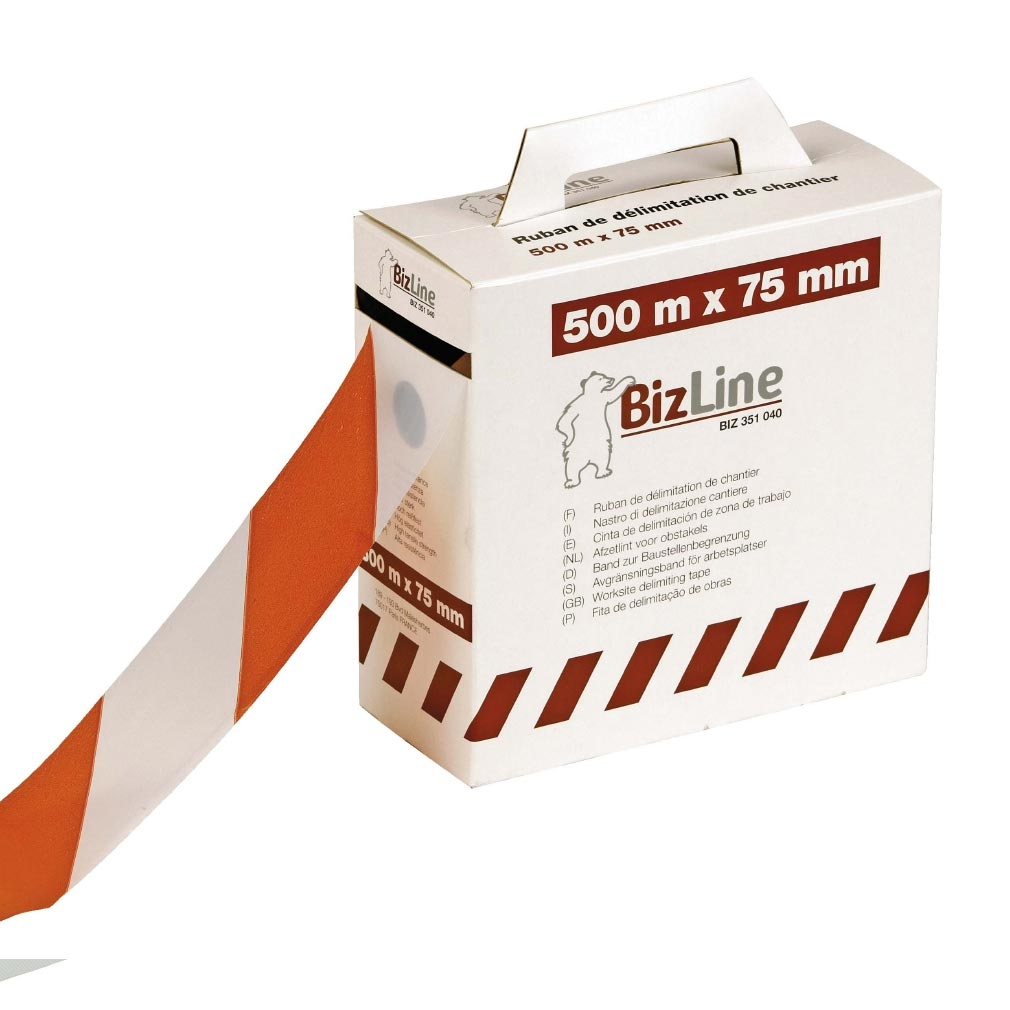 Bizline - BIZ351040 -  Ruban de délimitation de chantier rouge/blanc 75 mm x 500 m x 0.3 mm