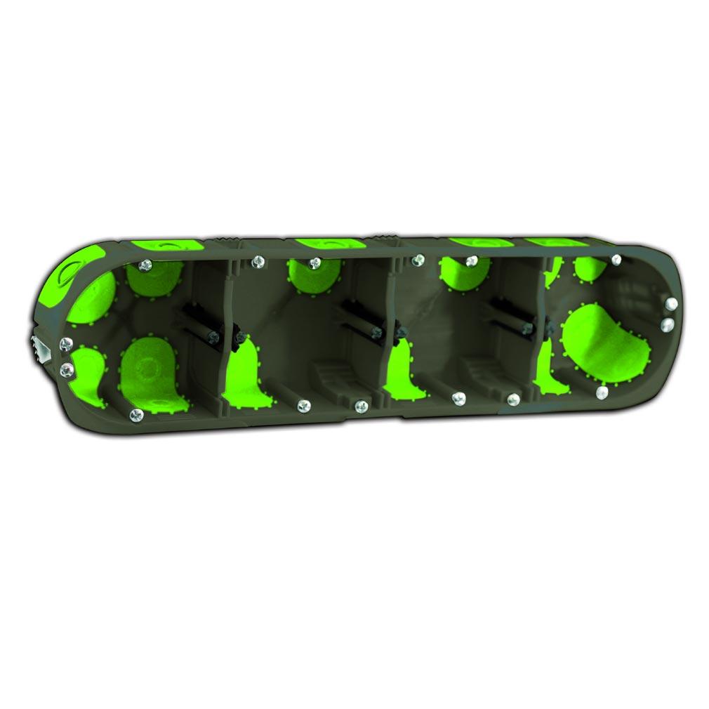 Bizline - BIZ500440 -  Boîte multiposte d'appareillage R'Box Ø 67 mm entraxe 71 mm 4 postes profondeur 40 mm