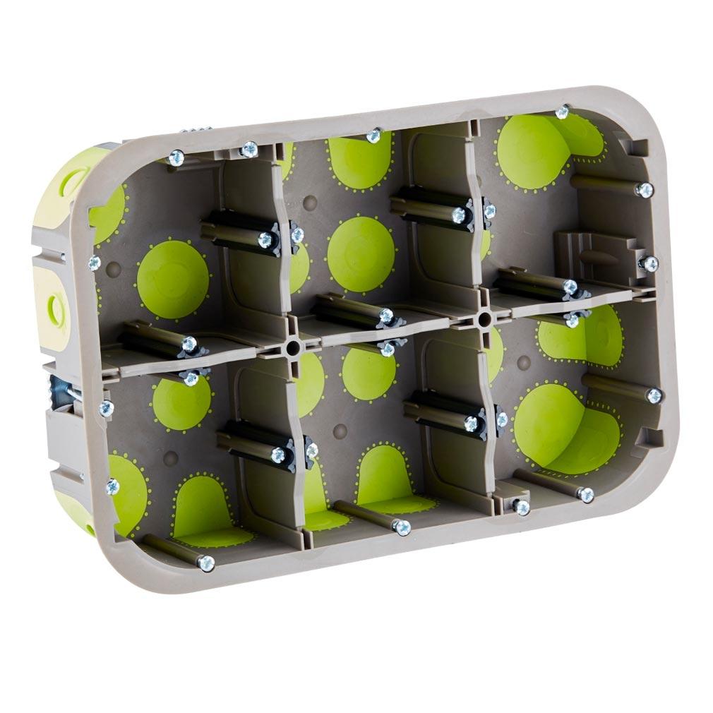 Bizline - BIZ500640 -  Boîte multiposte d'appareillage R'Box D= 67 mm entraxe 71 mm 3 x 2 postes 50 mm