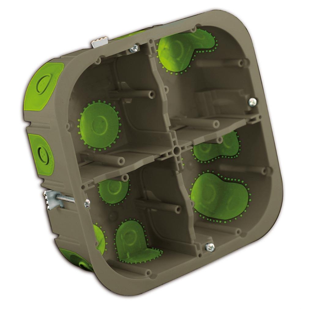 Bizline - BIZ502240 -  Boîte multiposte d'appareillage R'Box D= 67 mm entraxe 71 mm 2 x 2 postes 50 mm