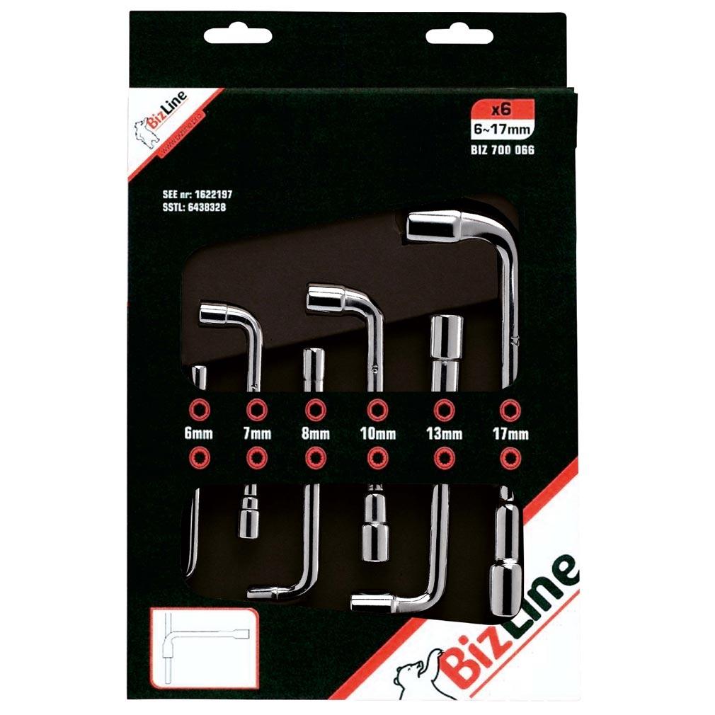 Bizline - BIZ700066 -  Jeu de clés à pipe débouchées 12 pans 6 tailles 6/7/8/10/13/17 mm