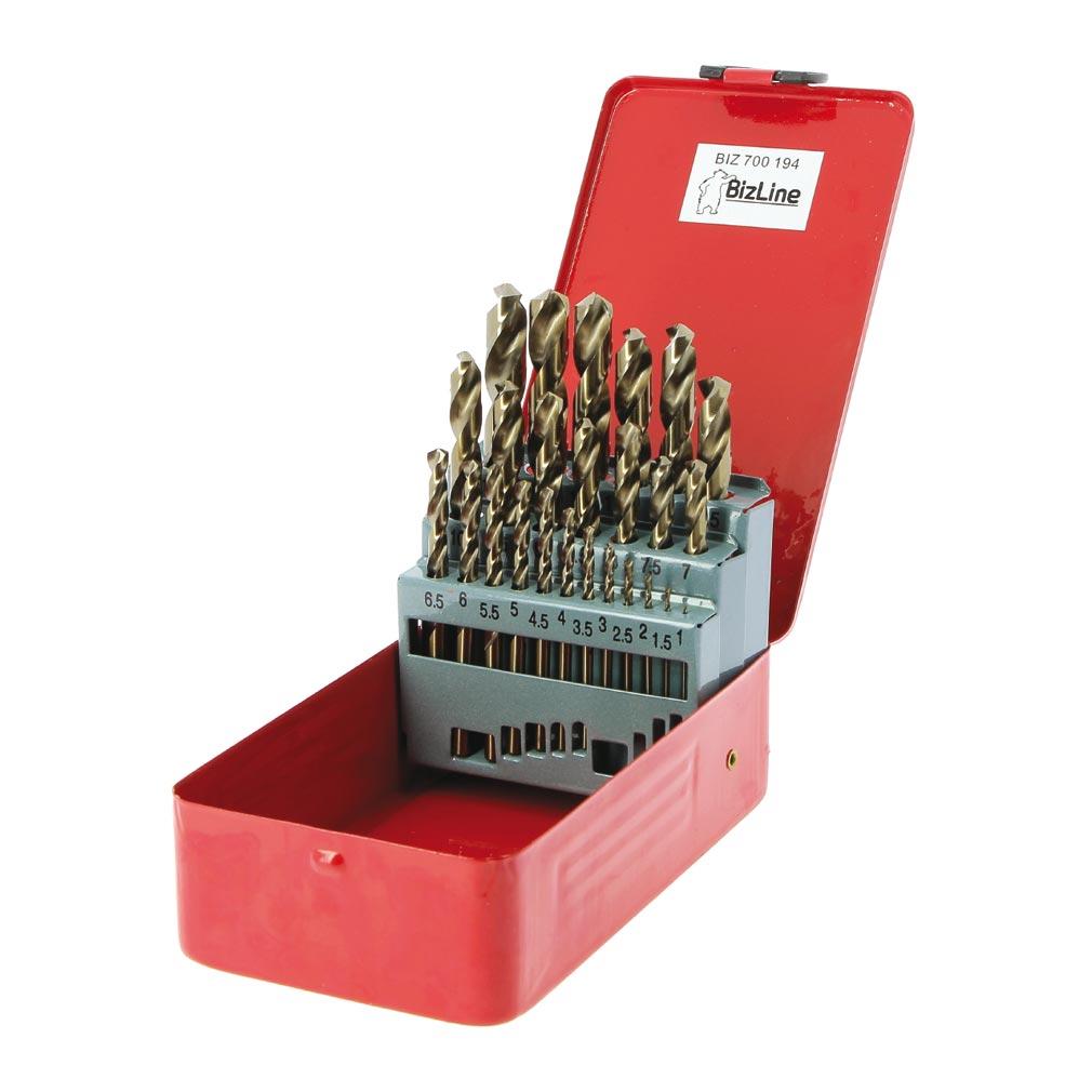 Bizline - BIZ700194 -  Coffret de 25 forets métaux HSS 5 % cobalt Ø 1-13 mm par pas de 0.5 mm