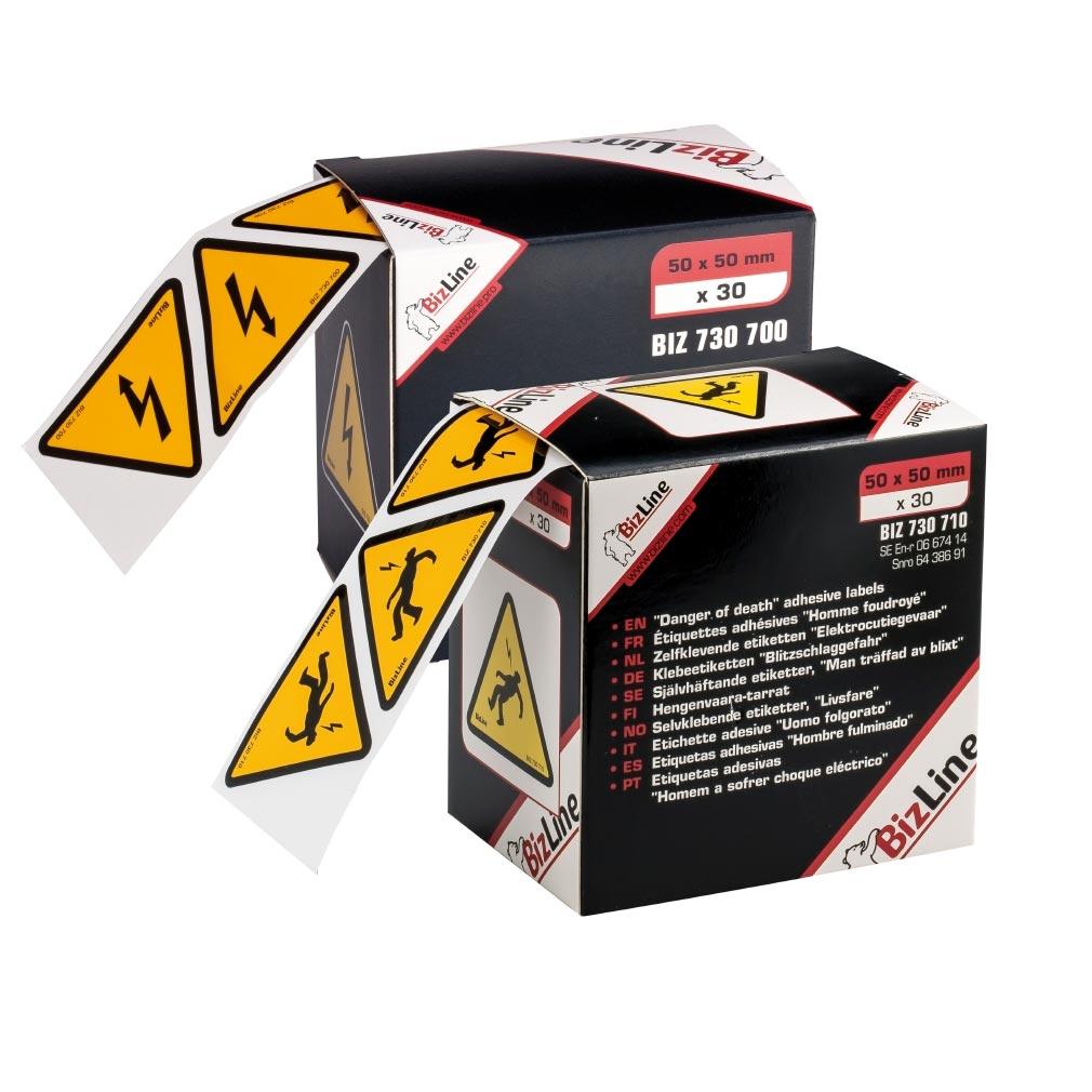 """Bizline - BIZ730700 -  Signalisation adhésive triangle """"Danger électrique"""" 50 x 50 mm (x 30)"""