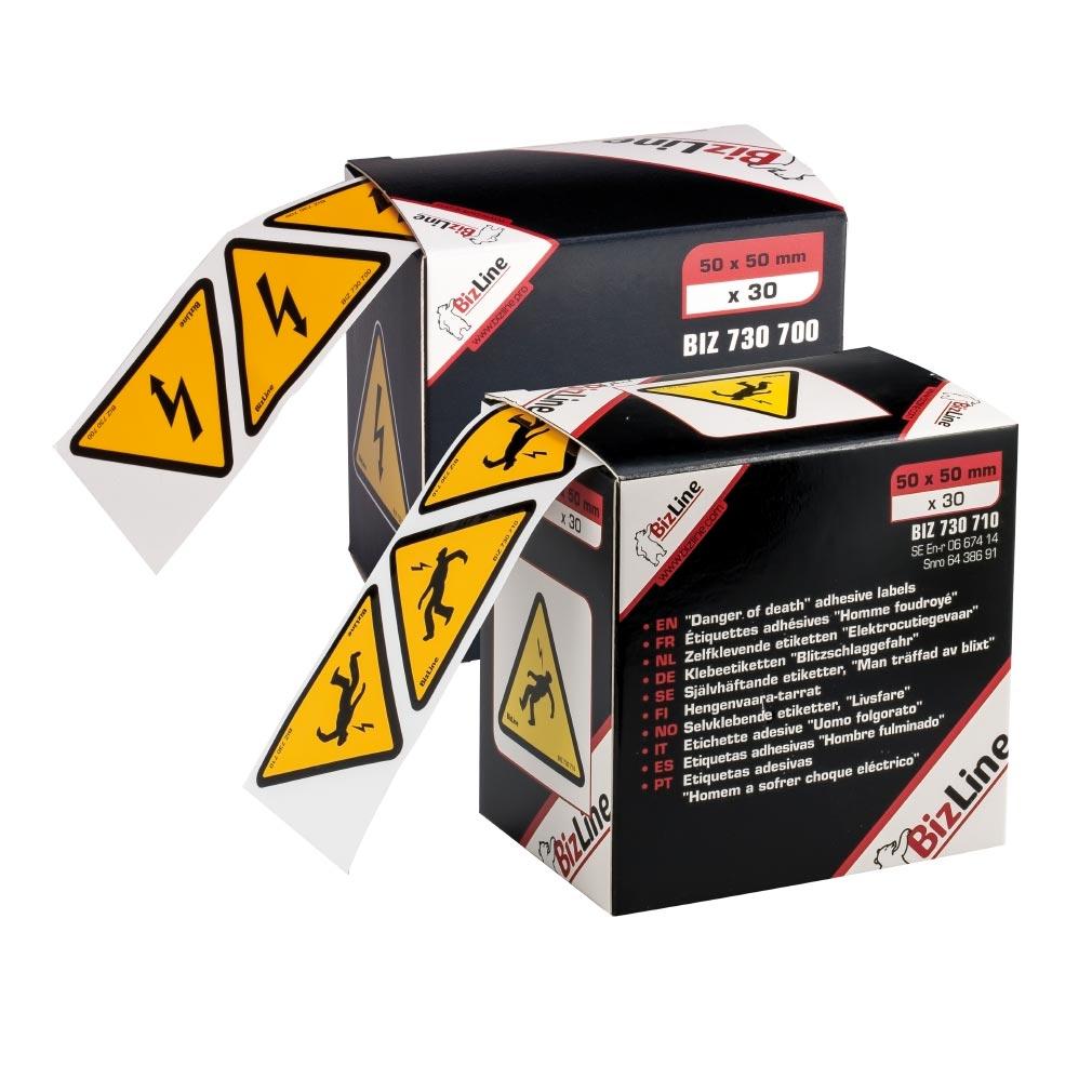 """Bizline - BIZ730701 -  Signalisation adhésive triangle """"Danger électrique"""" 100 x 100 mm (x 20)"""
