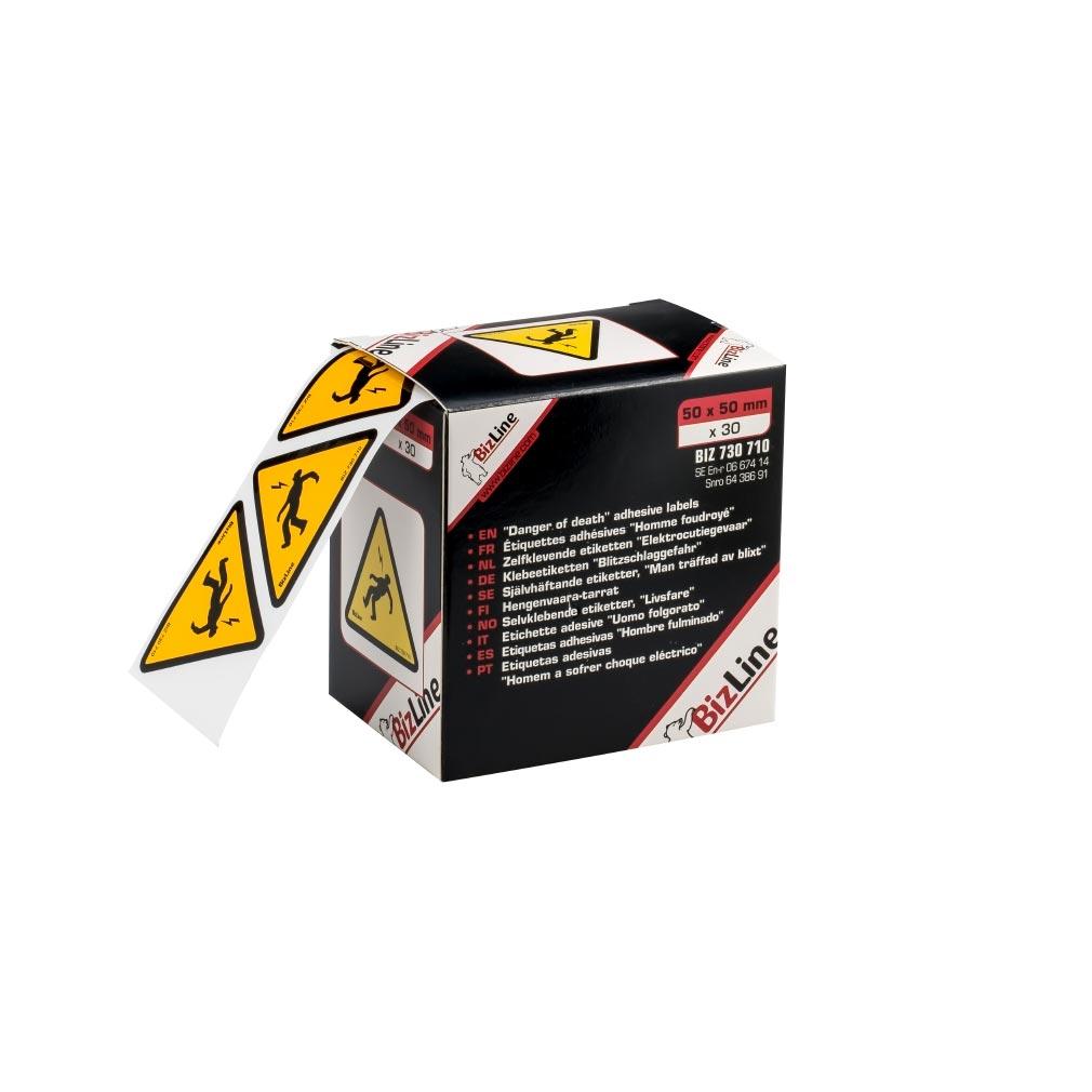 "Bizline - BIZ730711 -  Signalisation adhésive triangle ""Homme foudroyé"" 100 x 100 mm (x 20)"