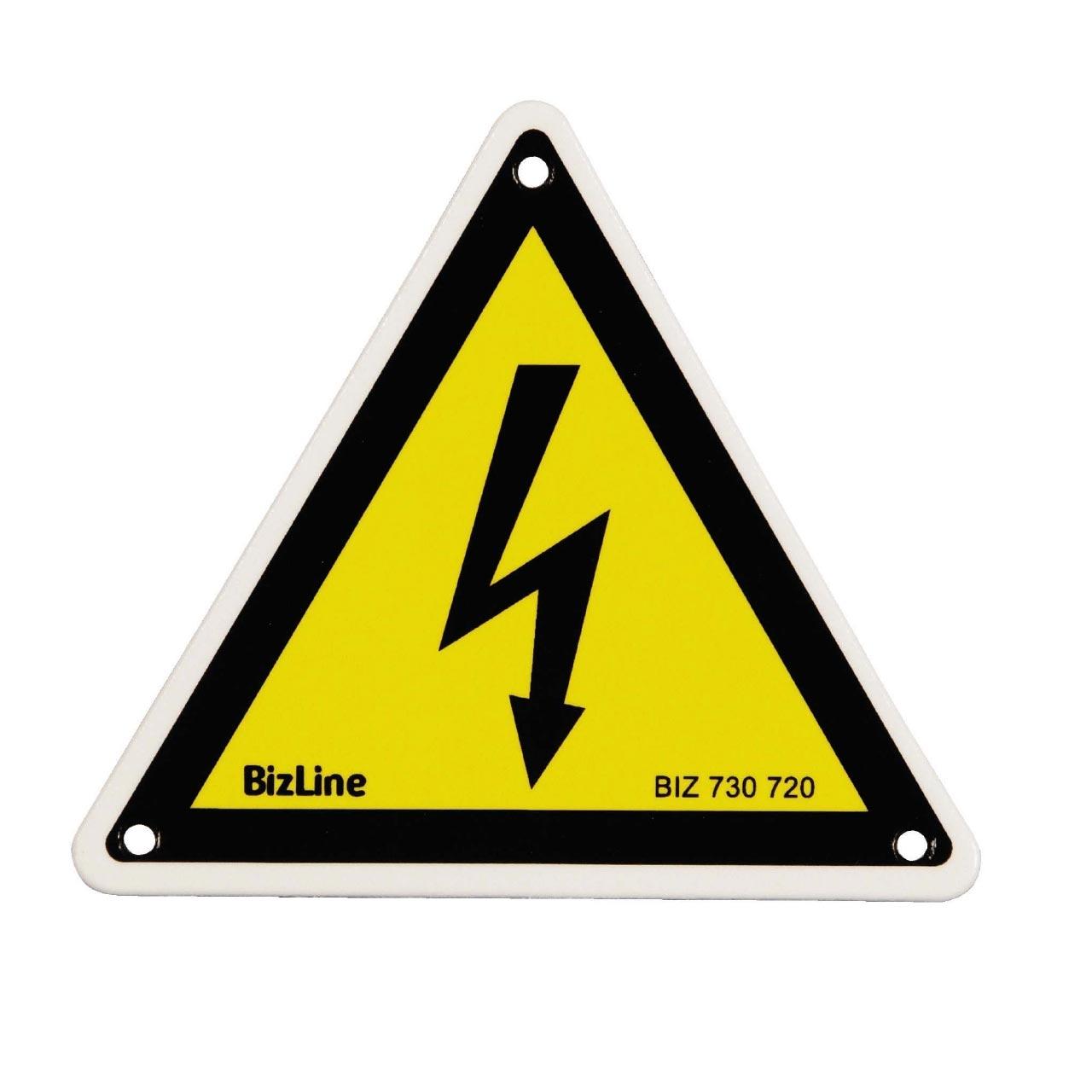Bizline - BIZ730720 -  Affichette PVC triangle 'Danger électrique' 100 x 100 mm (x 3)