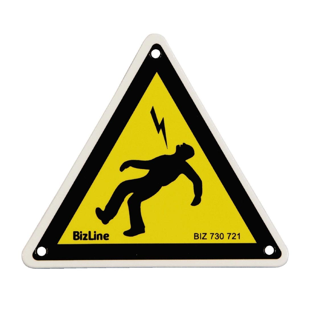 Bizline - BIZ730721 -  Affichette PVC triangle 'Homme foudroyé' 100 x 100 mm (x 3)