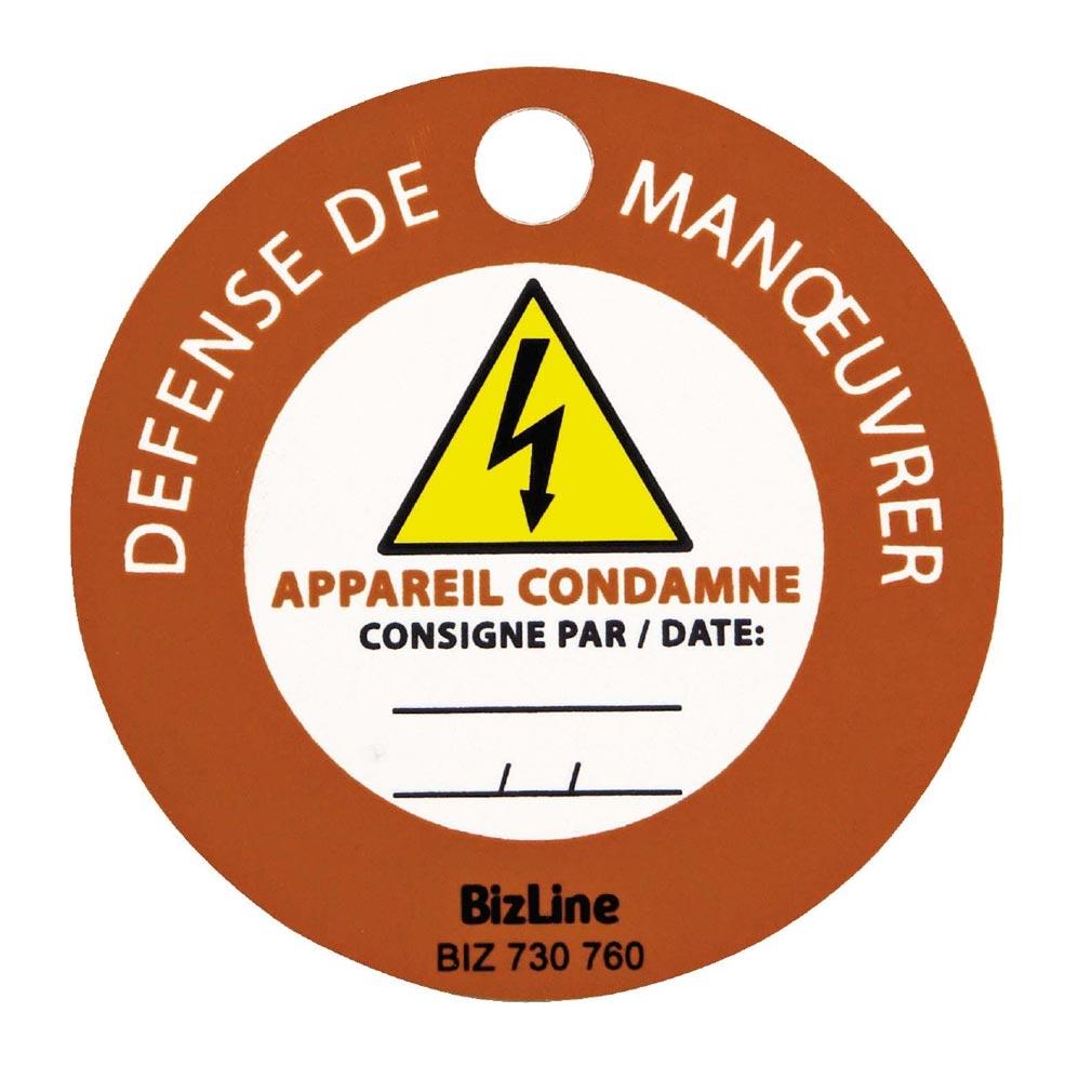 Bizline - BIZ730760 -  Macaron de consignation 'Défense de manoeuvrer/appareil condamné' (x 3)