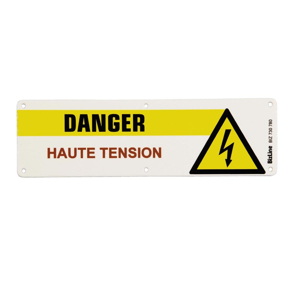 Bizline - BIZ730780 -  Plaque PVC 'Danger haute tension' 200 x 600 mm (x 1)