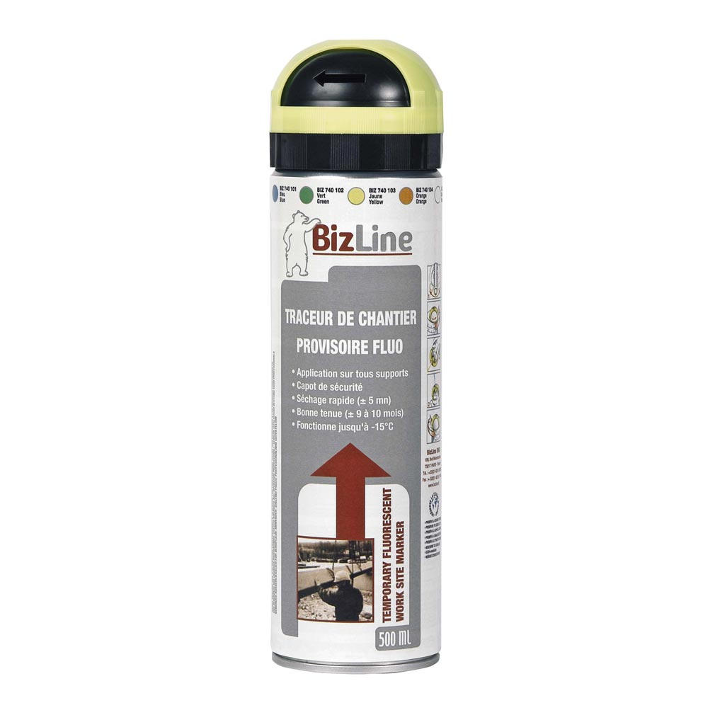 Bizline - BIZ740103 - TRACEUR DE CHANTIER 500 ML JAUNE FLUO