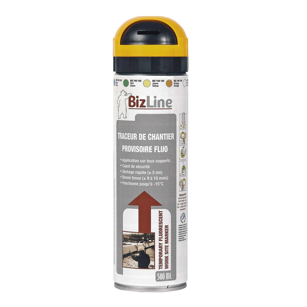 Bizline - BIZ740104 - TRACEUR DE CHANTIER 500 ML ORANGE FLUO