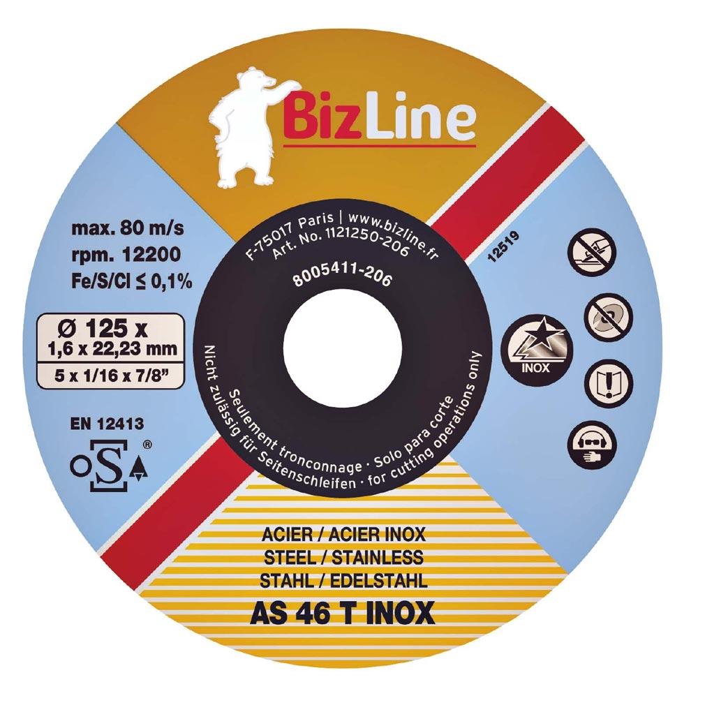 Bizline - BIZ781001 -  Disque à tronçonner pour inox et métal Ø 125 mm (x 10)