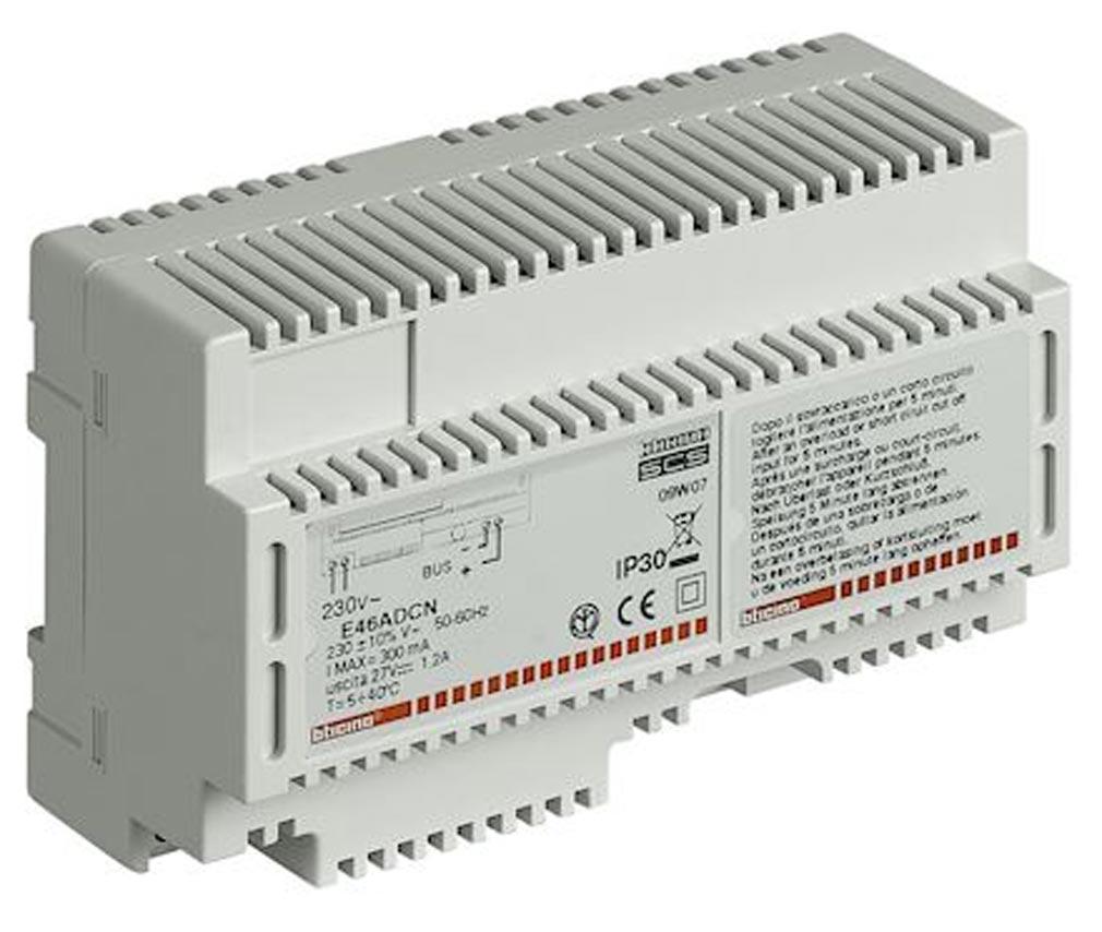 Bticino - TICE46ADCN - BTICINO E46ADCN - Alimentation MyHOME BUS - 230 V~ - 27 V= - 1,2 A - automatisme - 8 modules