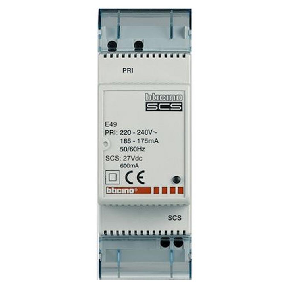 Bticino - TICE49 - BTICINO E49 - Alimentation modulaire MyHOME_Up 0,6A - 2 modules - 230V~ et 27V=