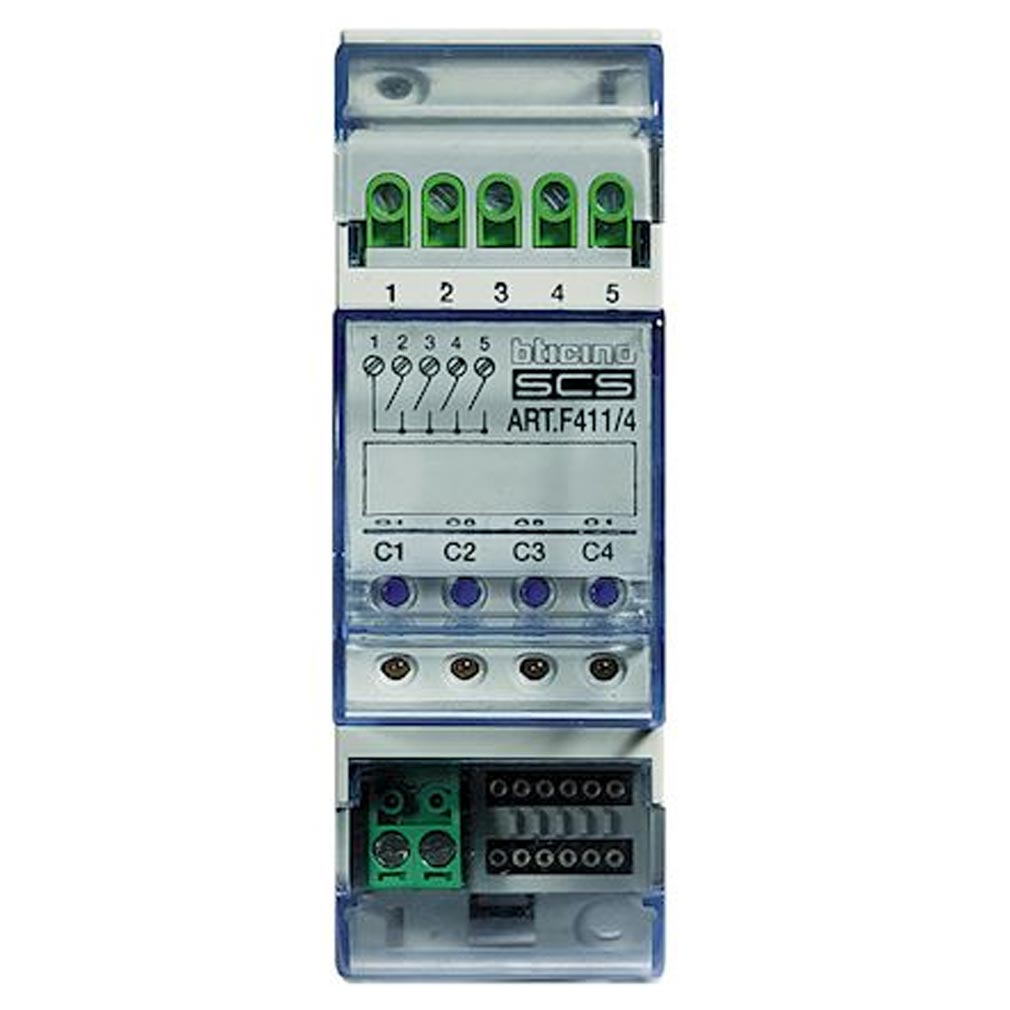 Bticino - TICF4114 - BTICINO 4114 - Actionneur 4 relais pour éclairage/moteur MyHOME_Up - 2 modules
