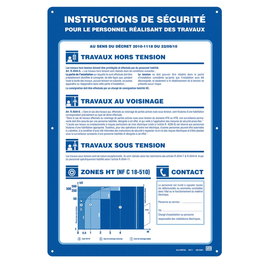 Catu - CATAM2081 - CATU AM-208/1 - AFFICHE CONSIGNES DE SECURITE